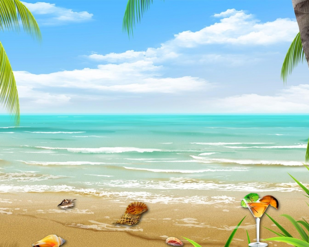 Tropical Beach Vector Collage Hd Wallpaper Wallpaper List 1280x1024