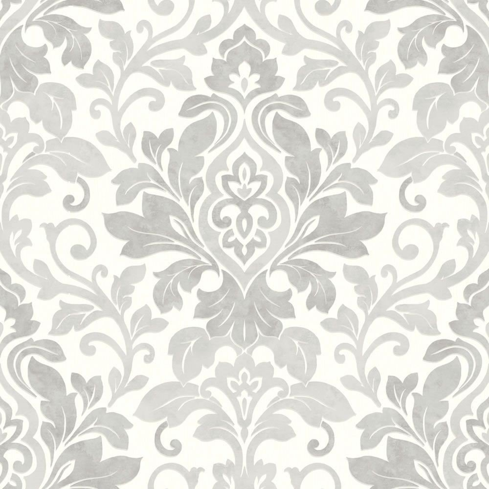 Silver Grey White   414603   Mozart   Damask   Arthouse Wallpaper 1000x1000