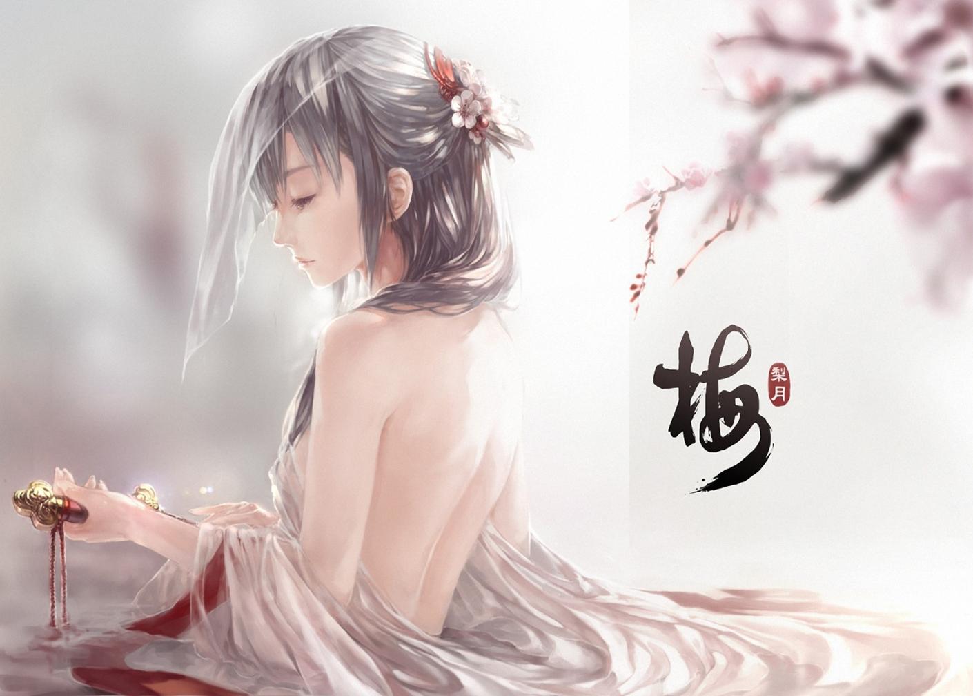 Beautiful Girl Sad Face Cherry Blossom Anime HD Wallpaper Desktop PC 1410x1008