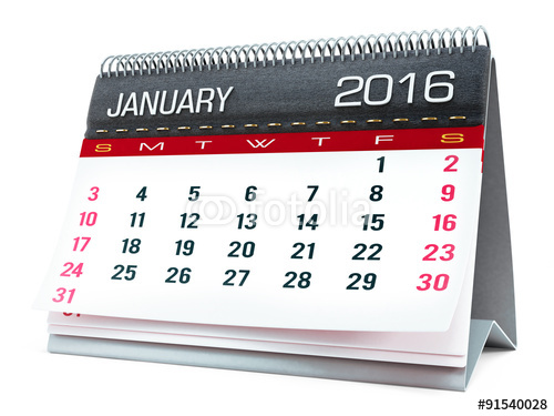 January 2016 desktop calendar Stock photo and royalty free images on 500x375