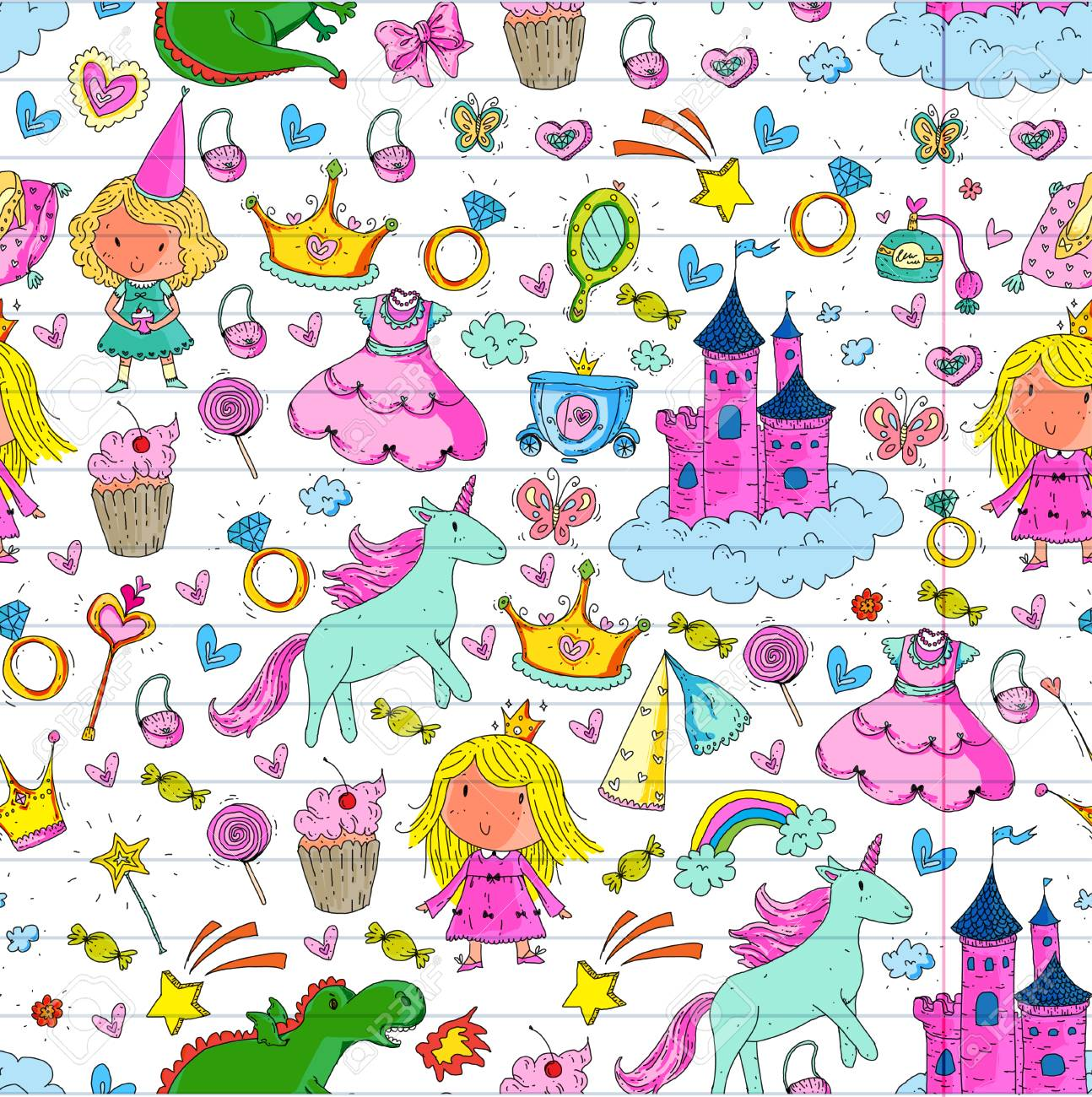 Cute Princess Icons Set With Unicorn Dragon Girl Wallpaper Baby 1294x1300