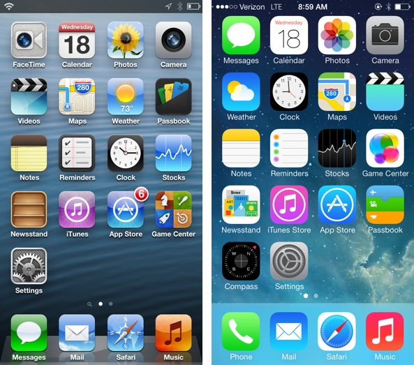 Iphone 4 Original Home Screen Layout Ios 6 vs ios 7 home screen 593x523