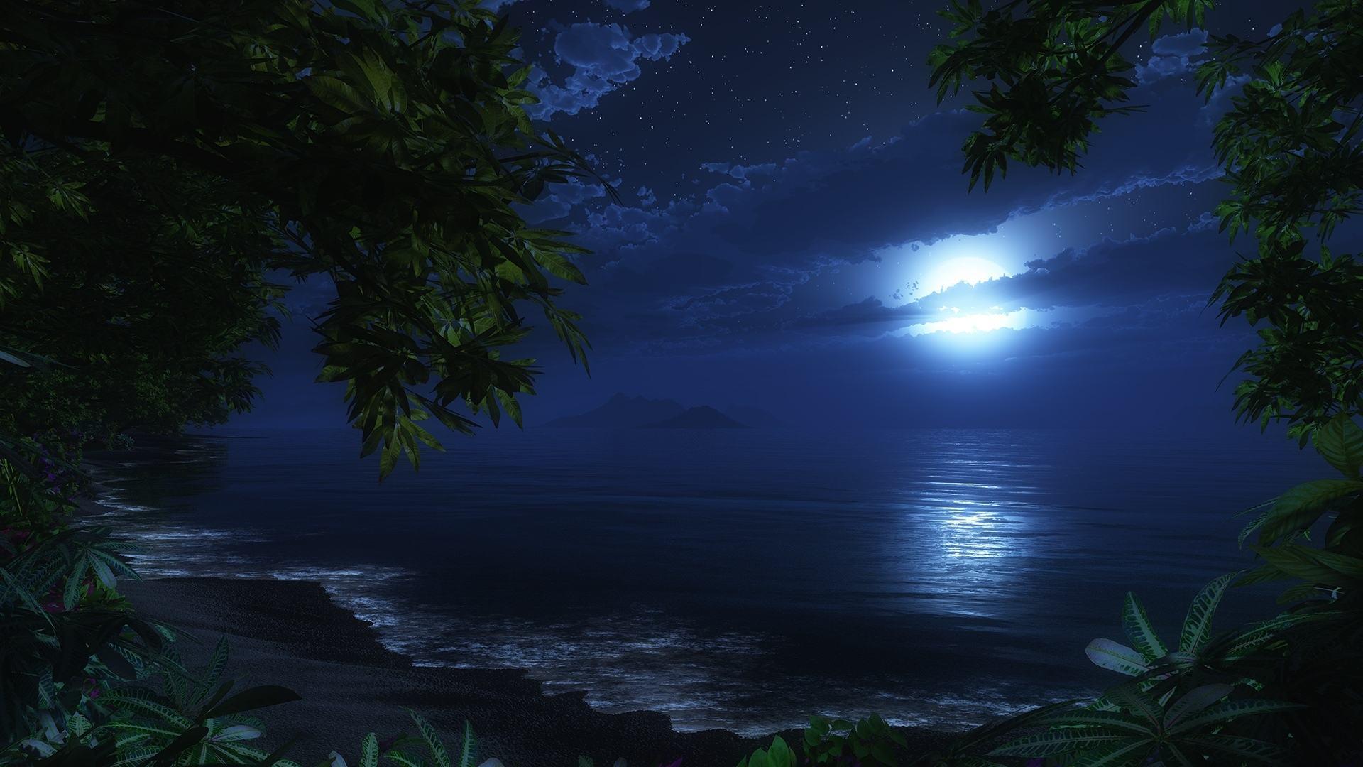 Tropical Waves Sky Mountains Clouds Island Moon Night: Beach Moon Wallpaper