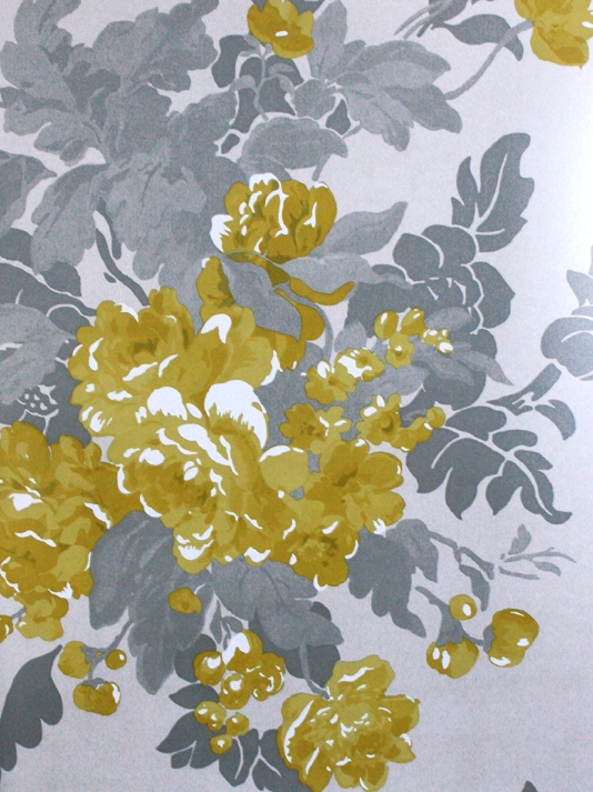 Yellow and grey floral wallpaper yellow and grey wallpaper wallpapersafari yellow and grey floral wallpaper mightylinksfo