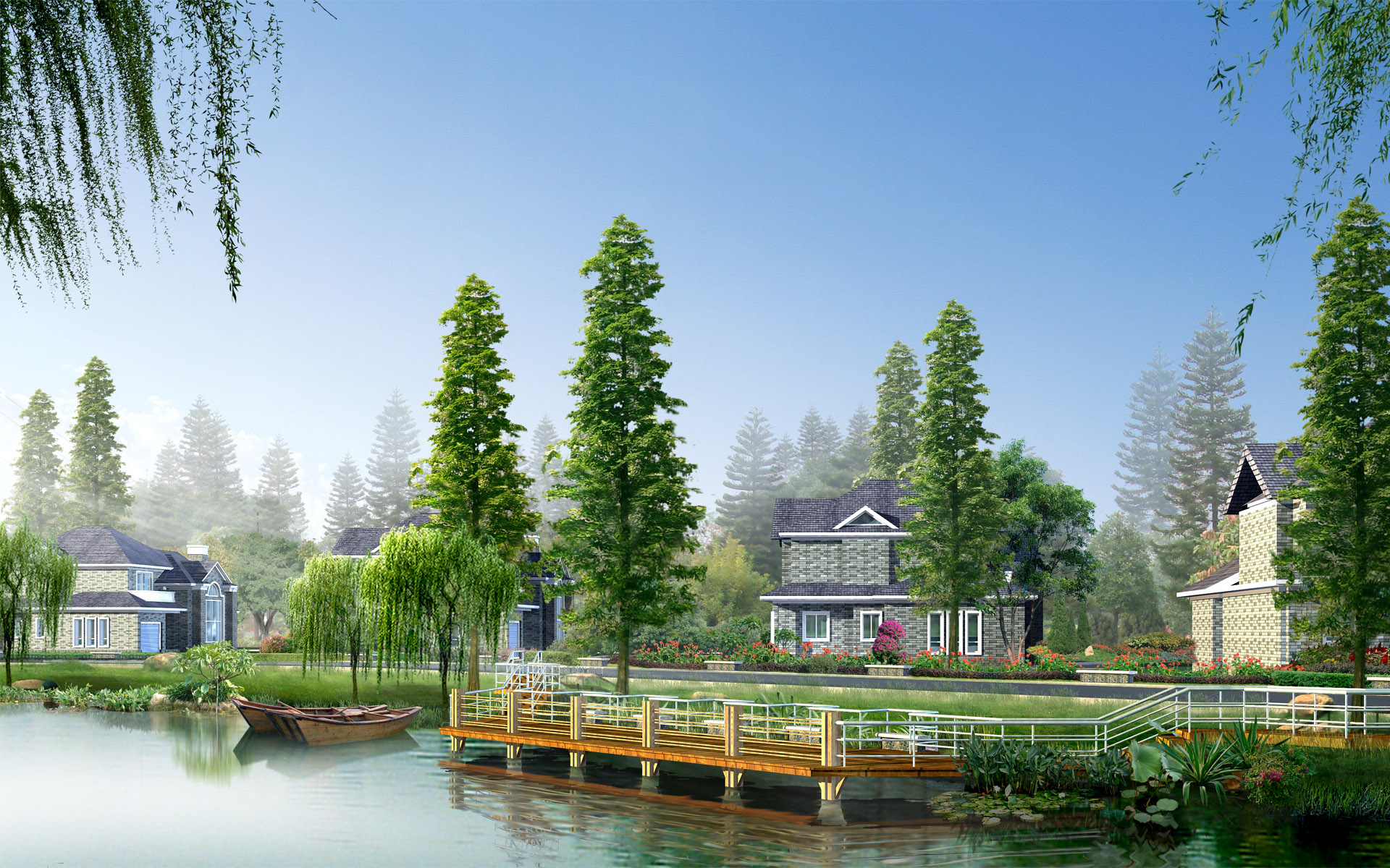 Effect of the tenth series of landscape architecture 15921   Building 1920x1200