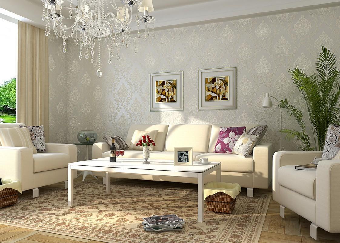 European Living Room With Elegant Wallpaper House 1122x802