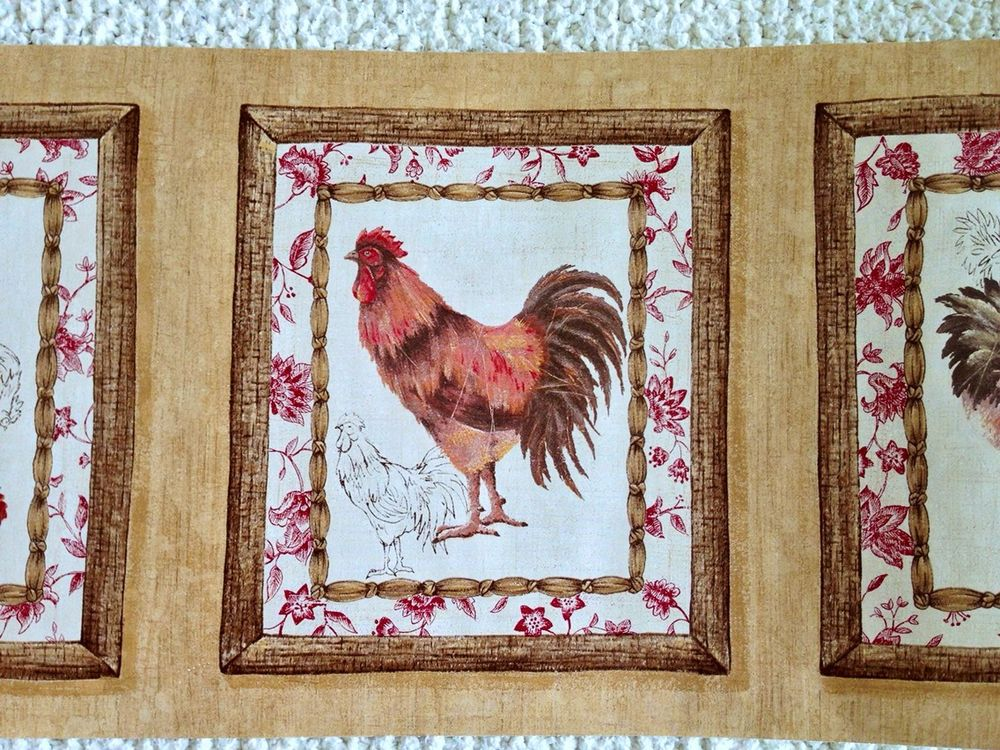French Country Rooster Kitchen Dining Room Wallpaper Border eBay 1000x750