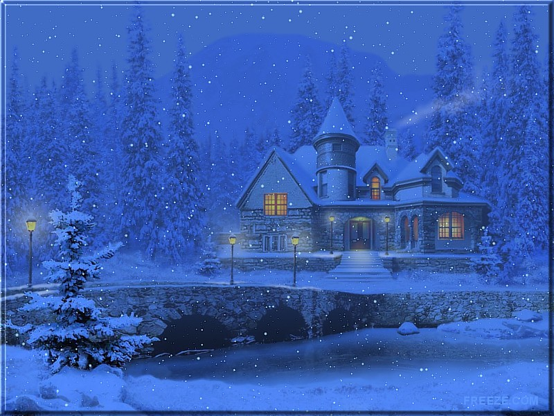 Wallpapers by ART TLC Wallpapers TLC 3D Snowy Cottage Freeze 800x600