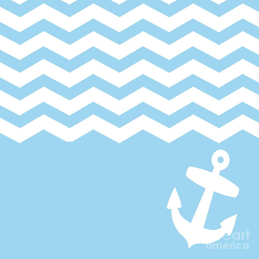 Blue Chevron And Anchor Digital Art by Li Or   Blue Chevron And 900x900