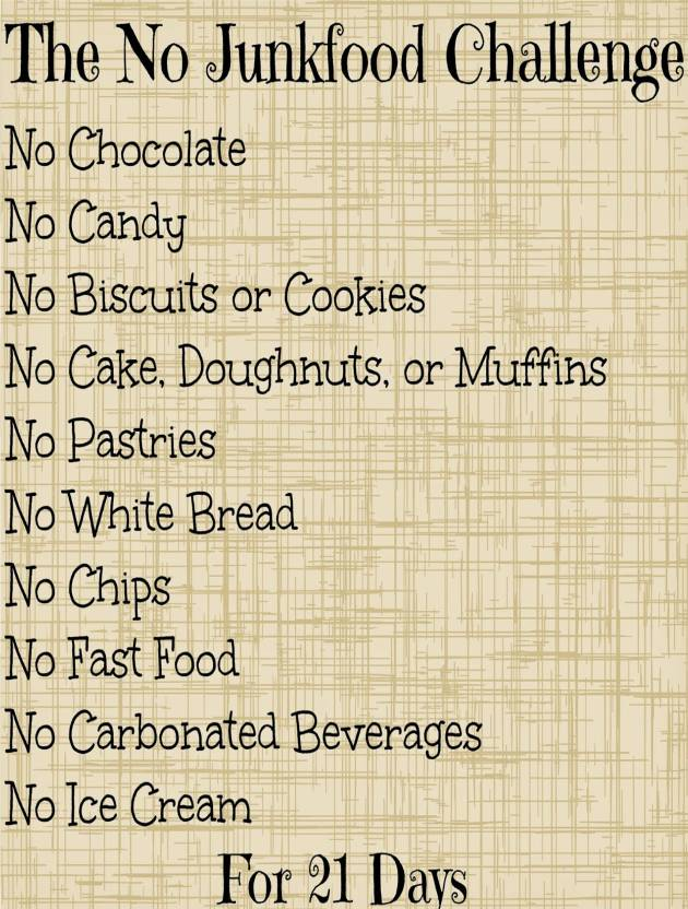 No Junk Food Challenge Paper Print   Typography posters in India 630x832