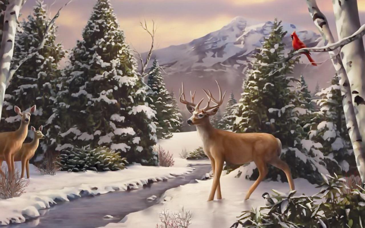 Winter Trees Deer Creek Bird wallpapers Winter Trees Deer Creek Bird 1280x800