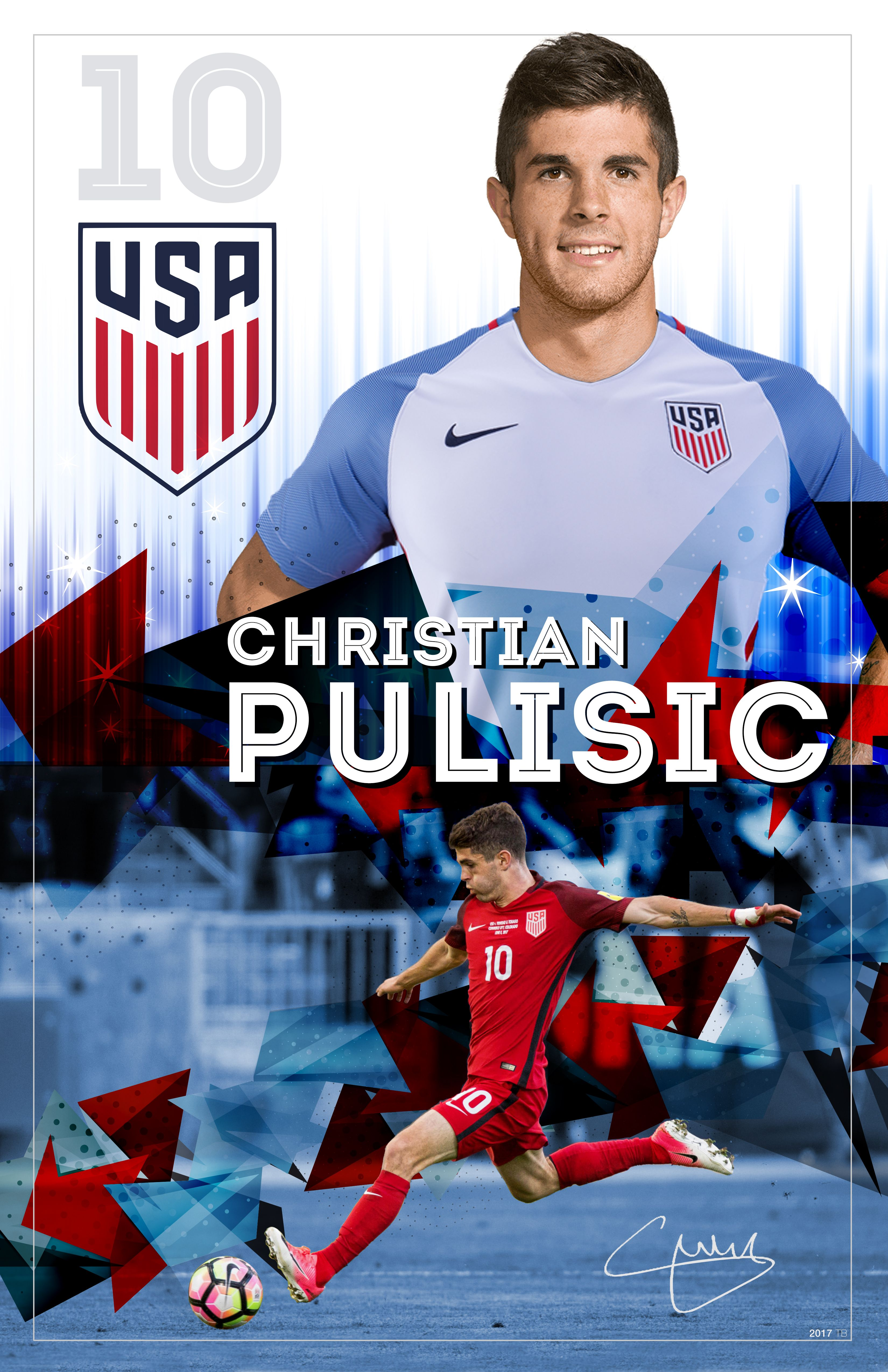 Christian Pulisic Soccer Poster by TAYLOR BUCK CREATIVE 3300x5100