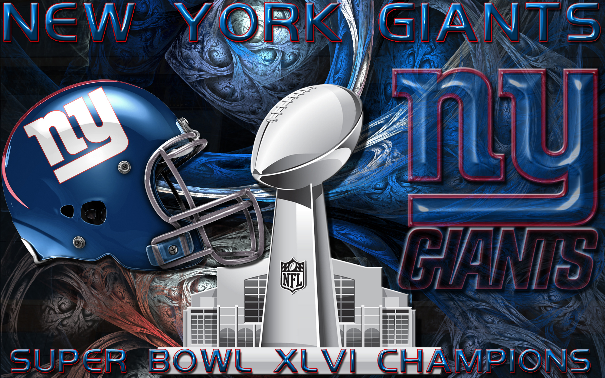 New York Giants Super Bowl XLVI Champions Wallpaper Alternate Version 2000x1251
