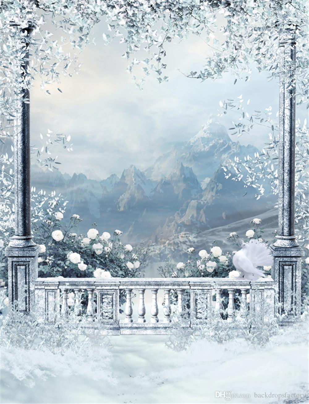 Winter Snow Scenic Wallpaper Outdoor Background White Pigeon Trees 1000x1307