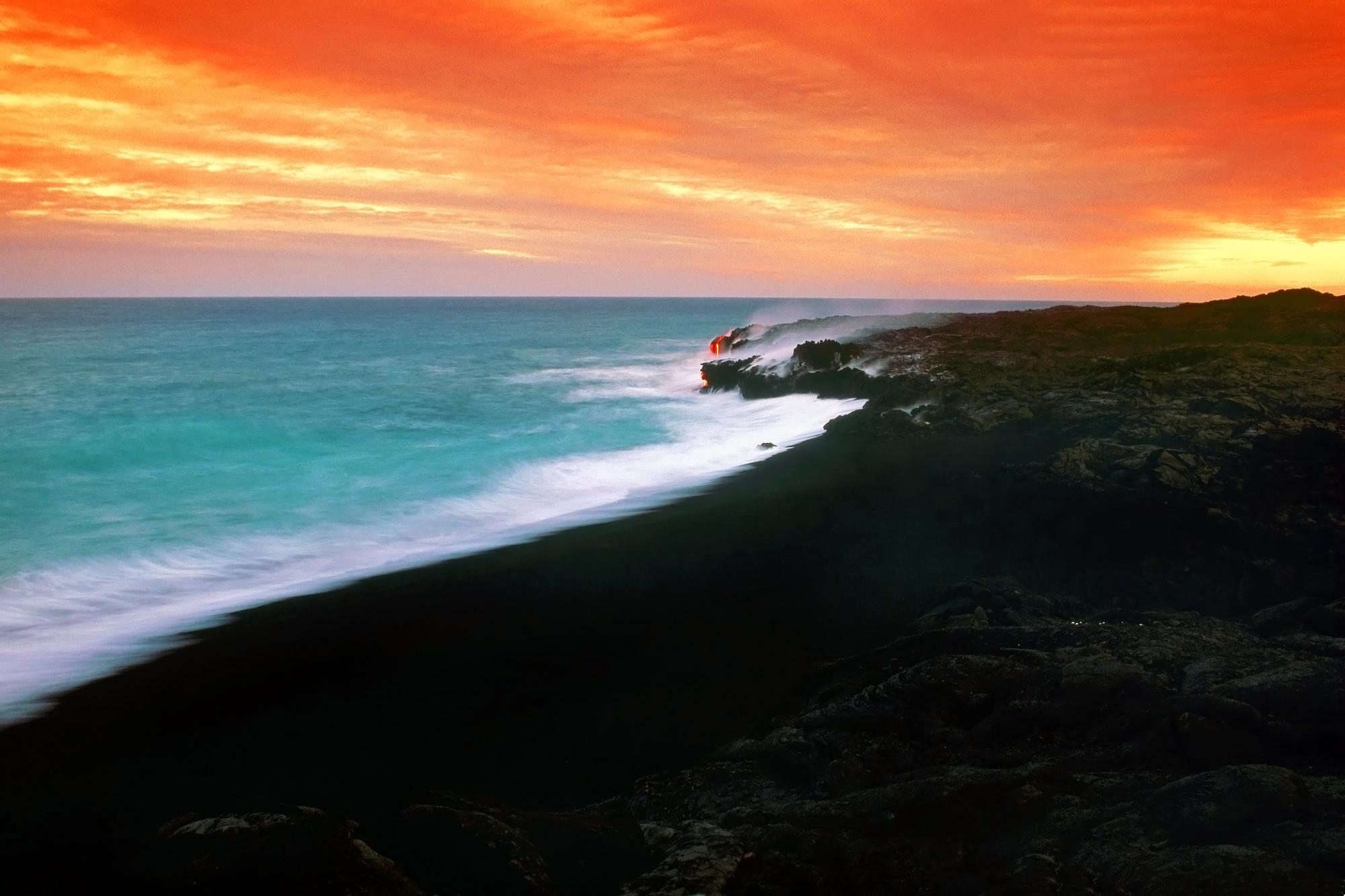 Sunset over a lava fields in Hawaii wallpaper - Beach Wallpapers