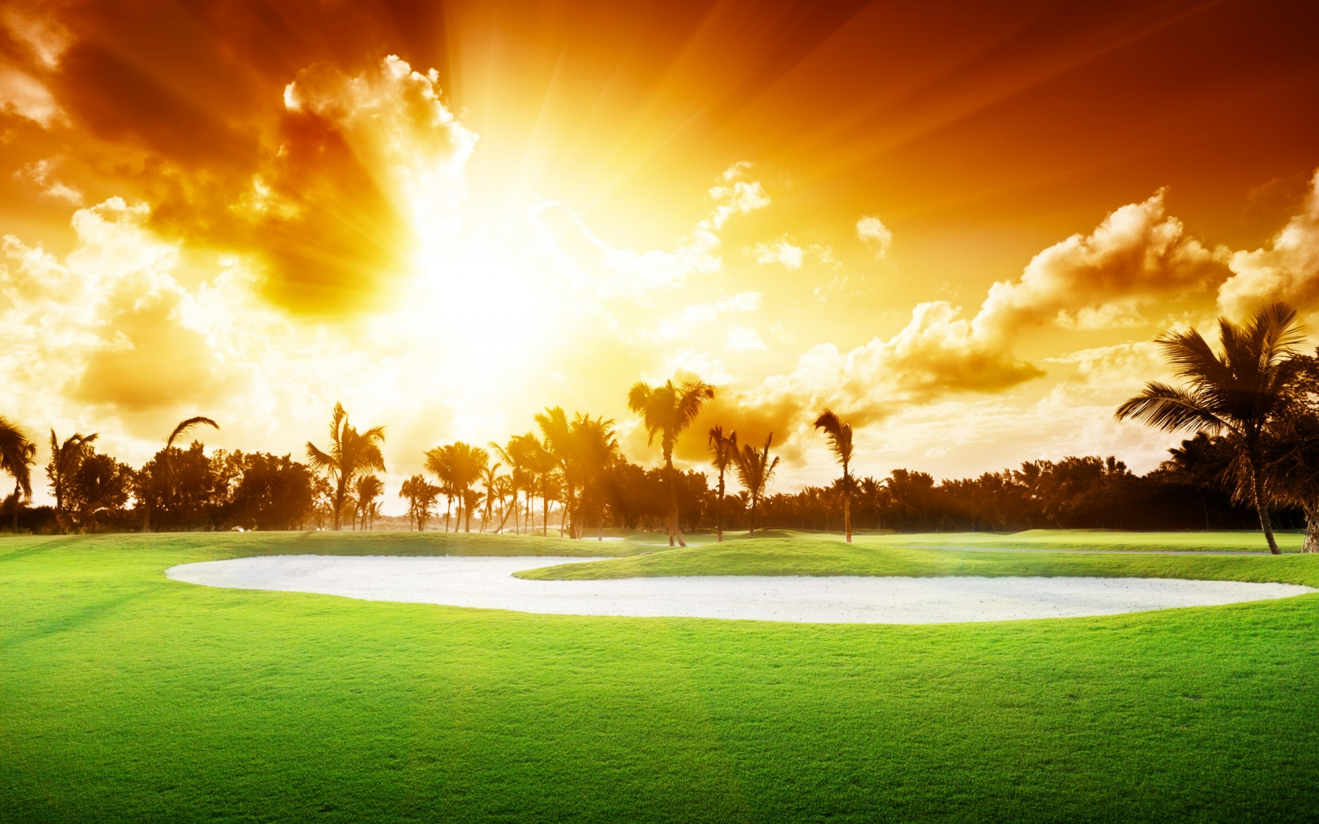Beautiful Golf Course Sunset 1920 x 1200 Download Close 1920x1200