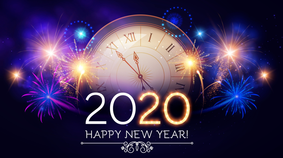 Happy New Year 2020 Wallpaper in Arabic Hindi English and Urdu 952x531