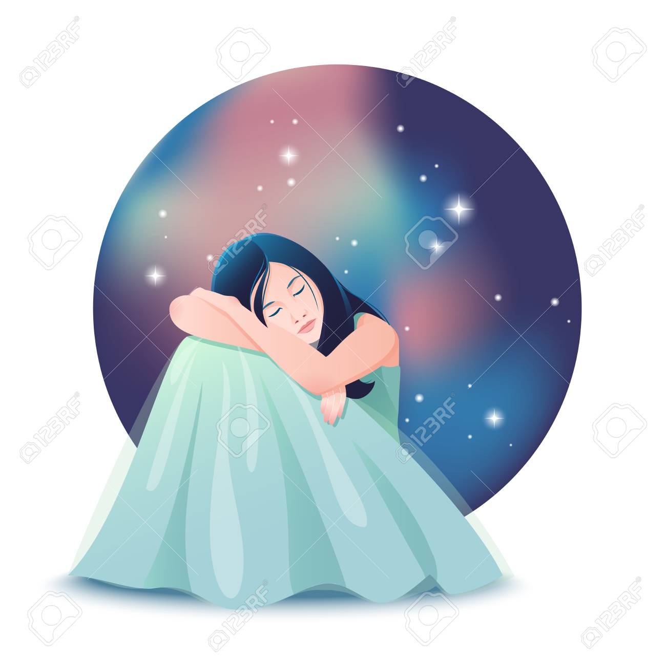 Vector Illustration Of Cute Dreaming Girl With Closed Eyes Siting 1300x1299
