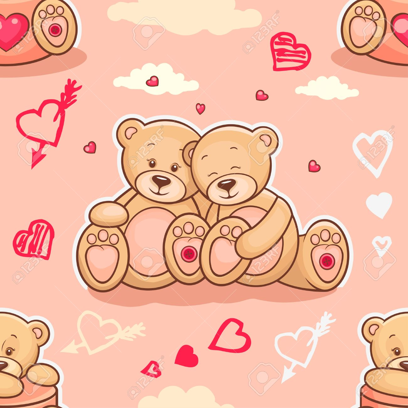 Cute Seamless Valentine Background With Teddy Bears Use It For 1300x1300