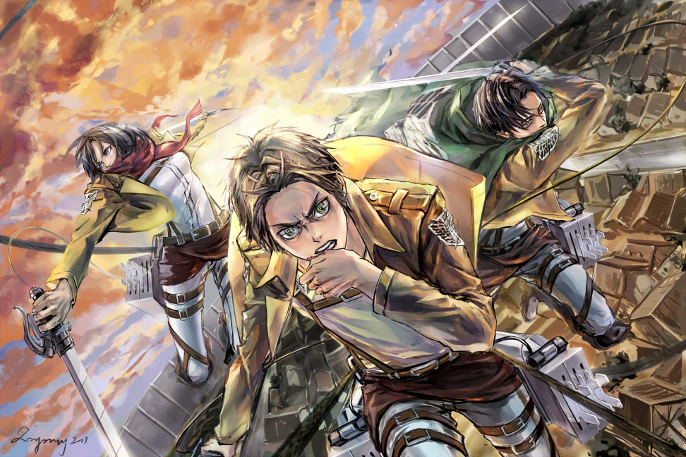 Mikasa Eren Levi Attack on Titan Anime HD Wallpaper Desktop Background 972x648
