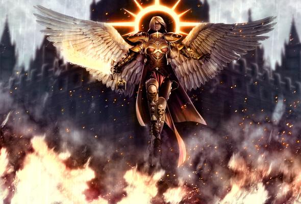 Wallpaper Warhammer 40k angel wings fire armor sword desktop 590x400