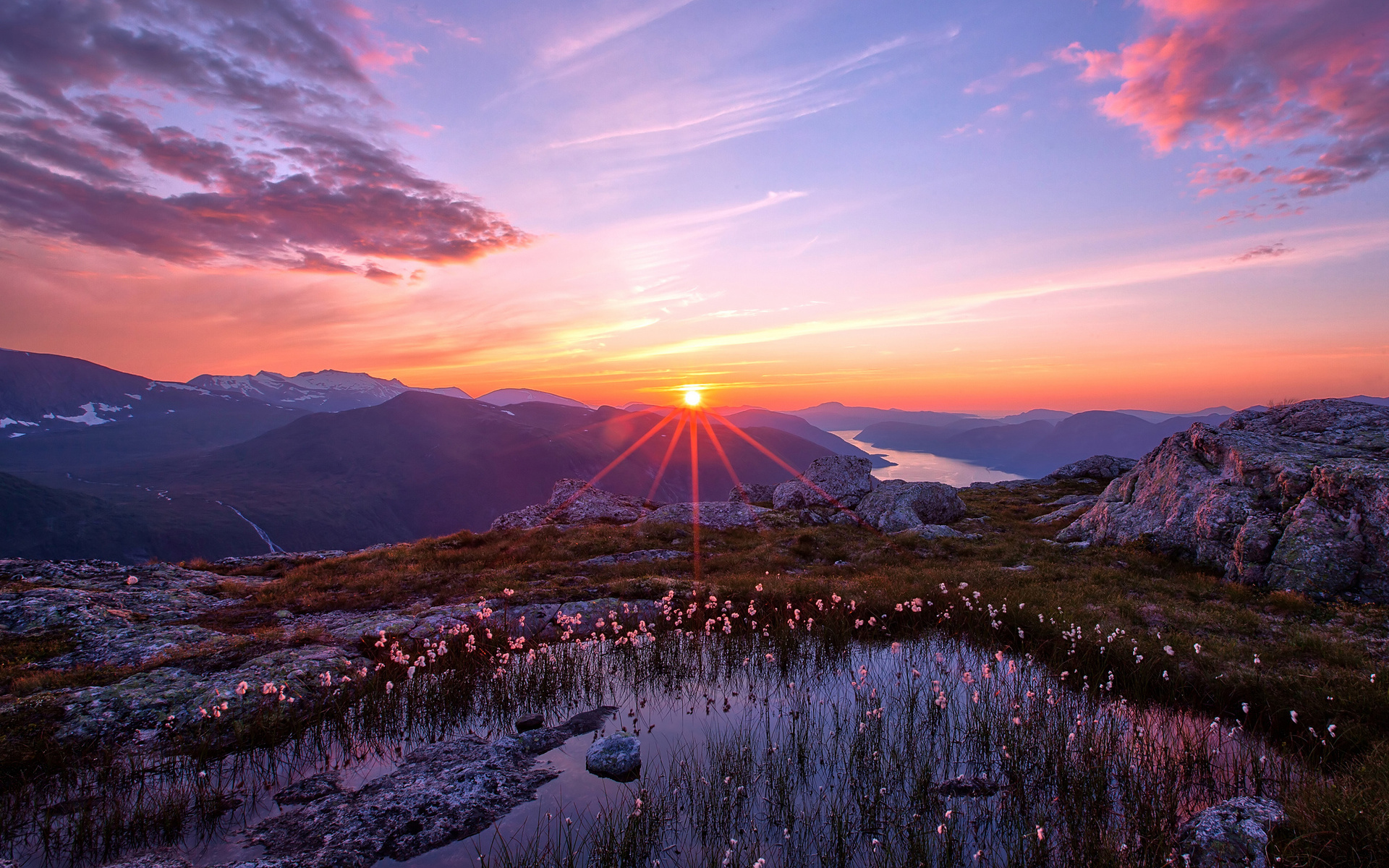 nature landscapes sunset sunrise pond plants water flowers mountains 1920x1200