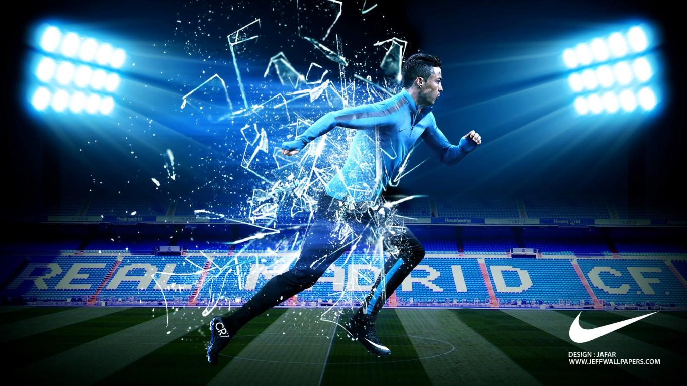 Cristiano Ronaldo 3D Nike Shoes CR7 Desktop Wallpaper 1366x768