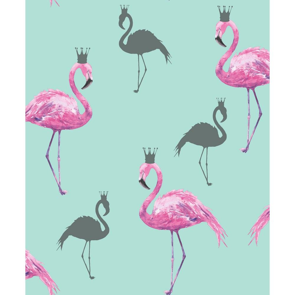 Arthouse Flamingo Queen PinkTeal Wallpaper 674701   The Home Depot 1000x1000