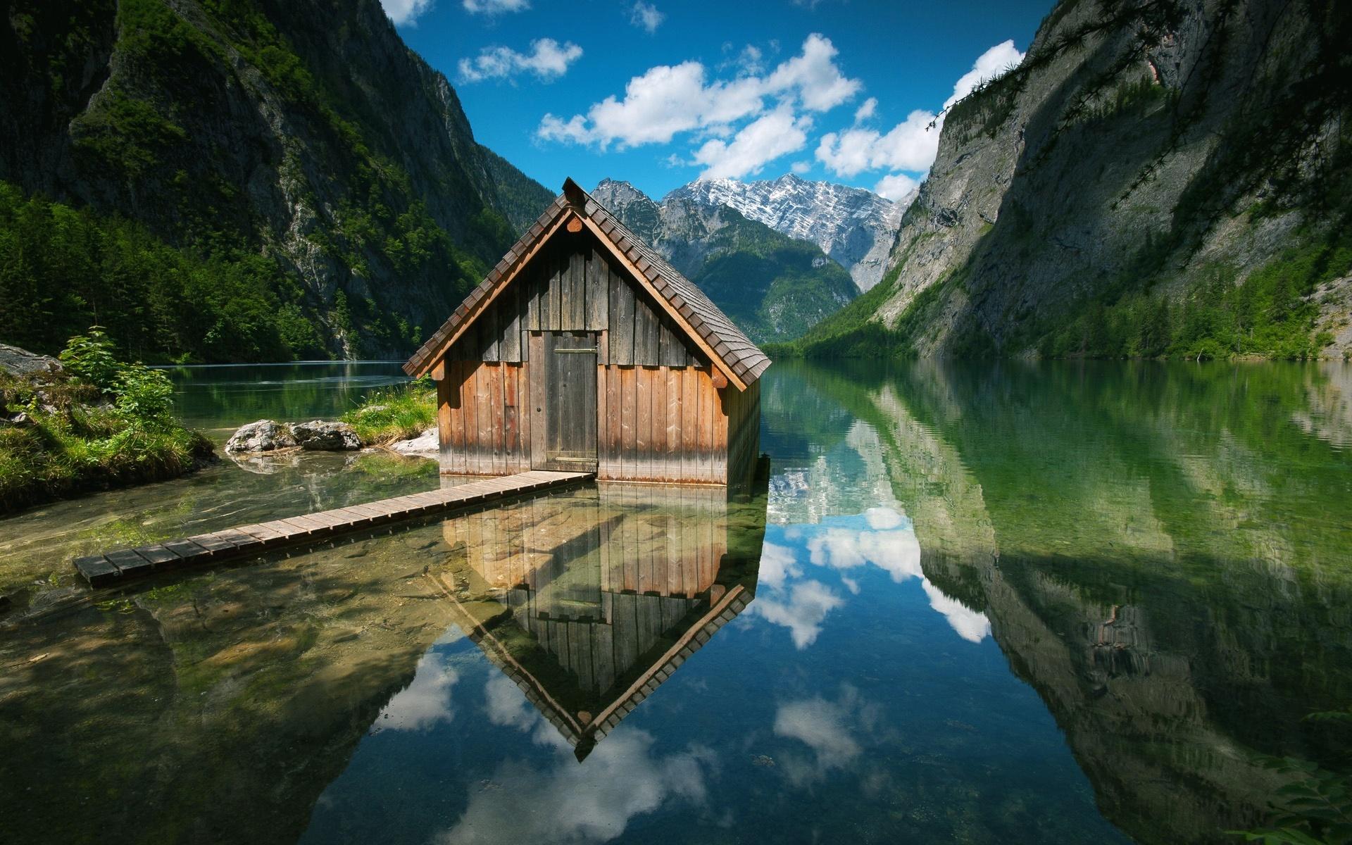 Lakeside mountain cabin wallpaper   792085 1920x1200