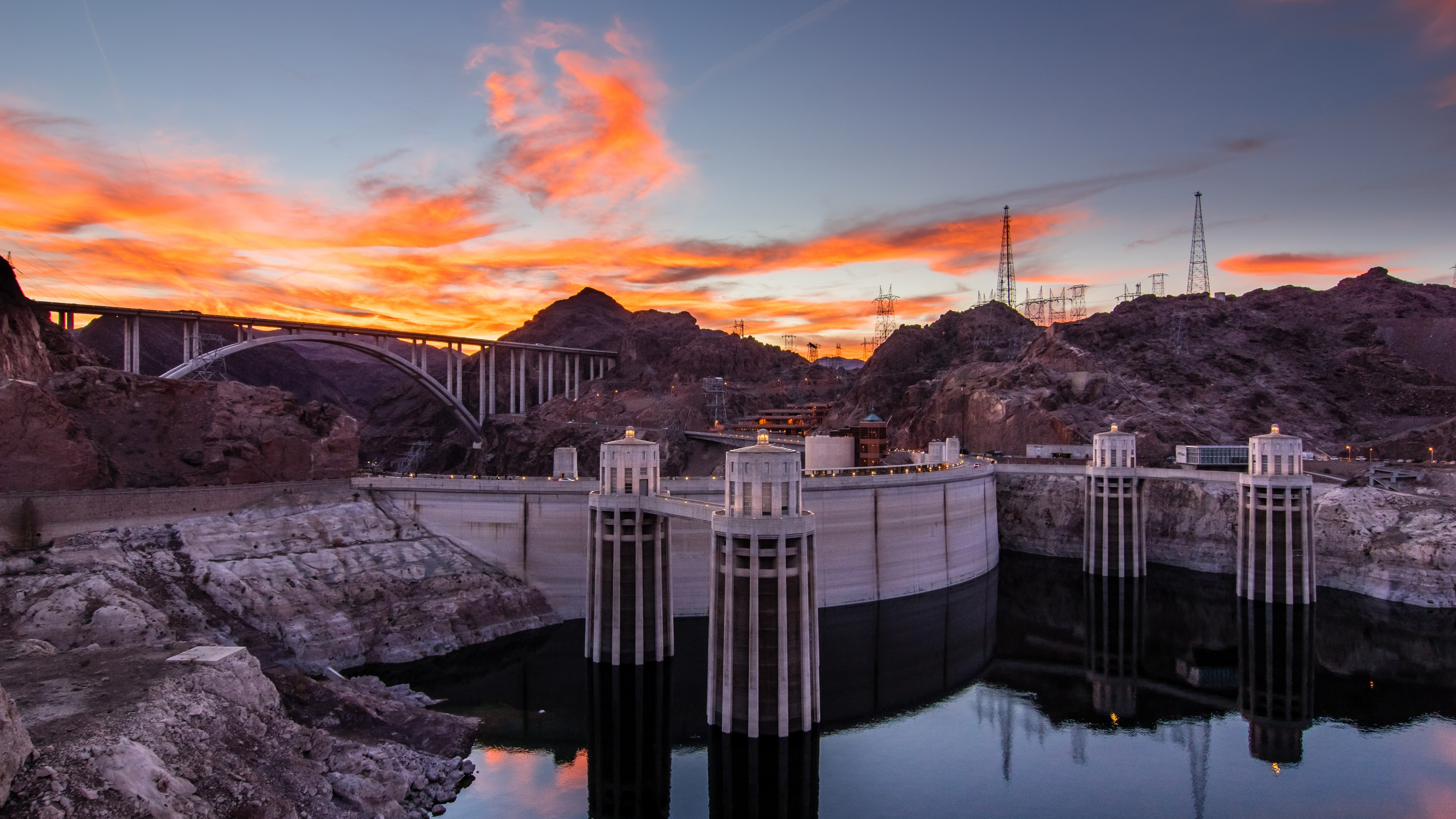 Download wallpaper Hoover Dam at sunset 3840x2160 3840x2160