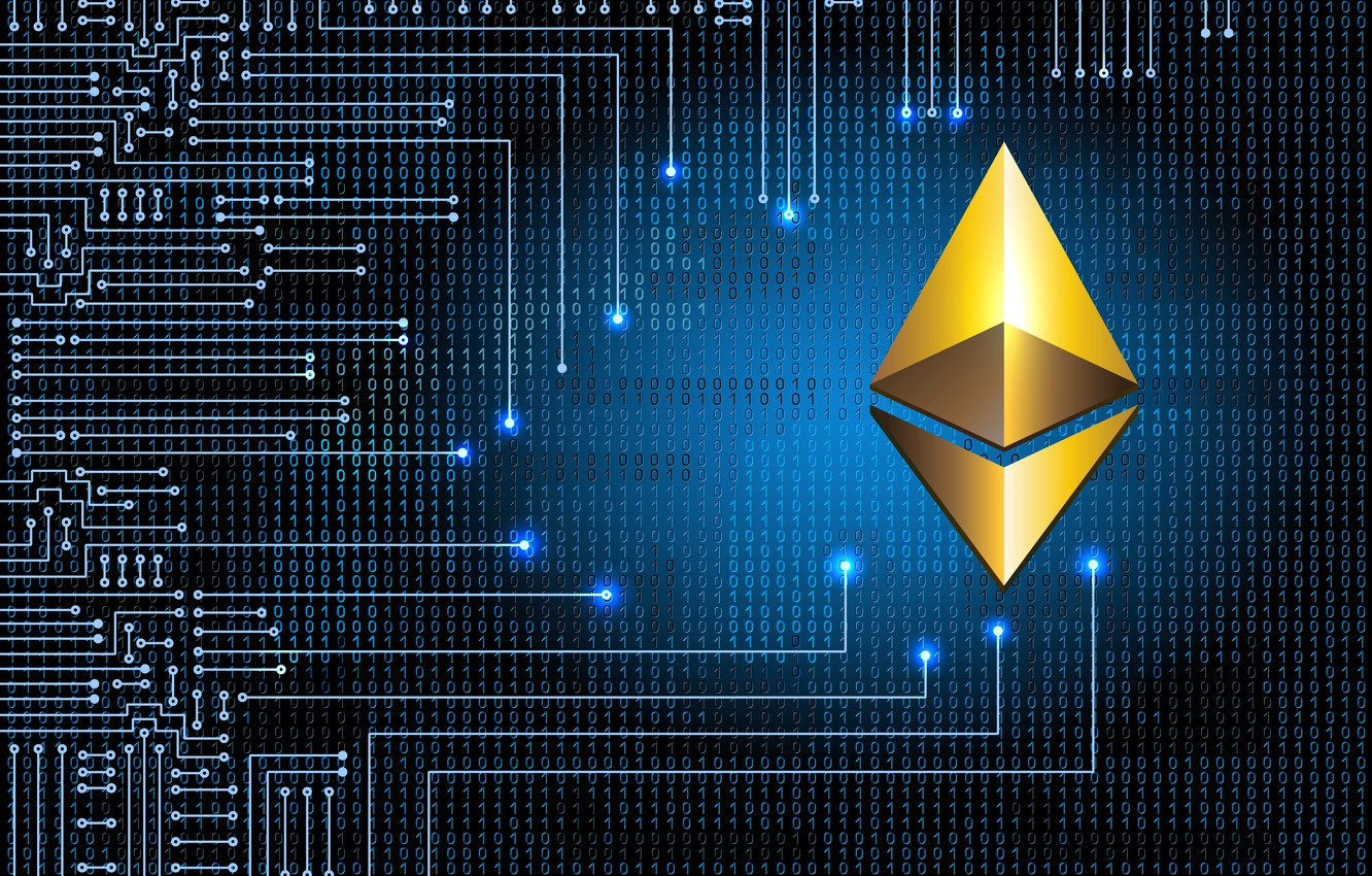 Wallpaper blue logo logo eth ethereum Efir images for desktop 1332x850