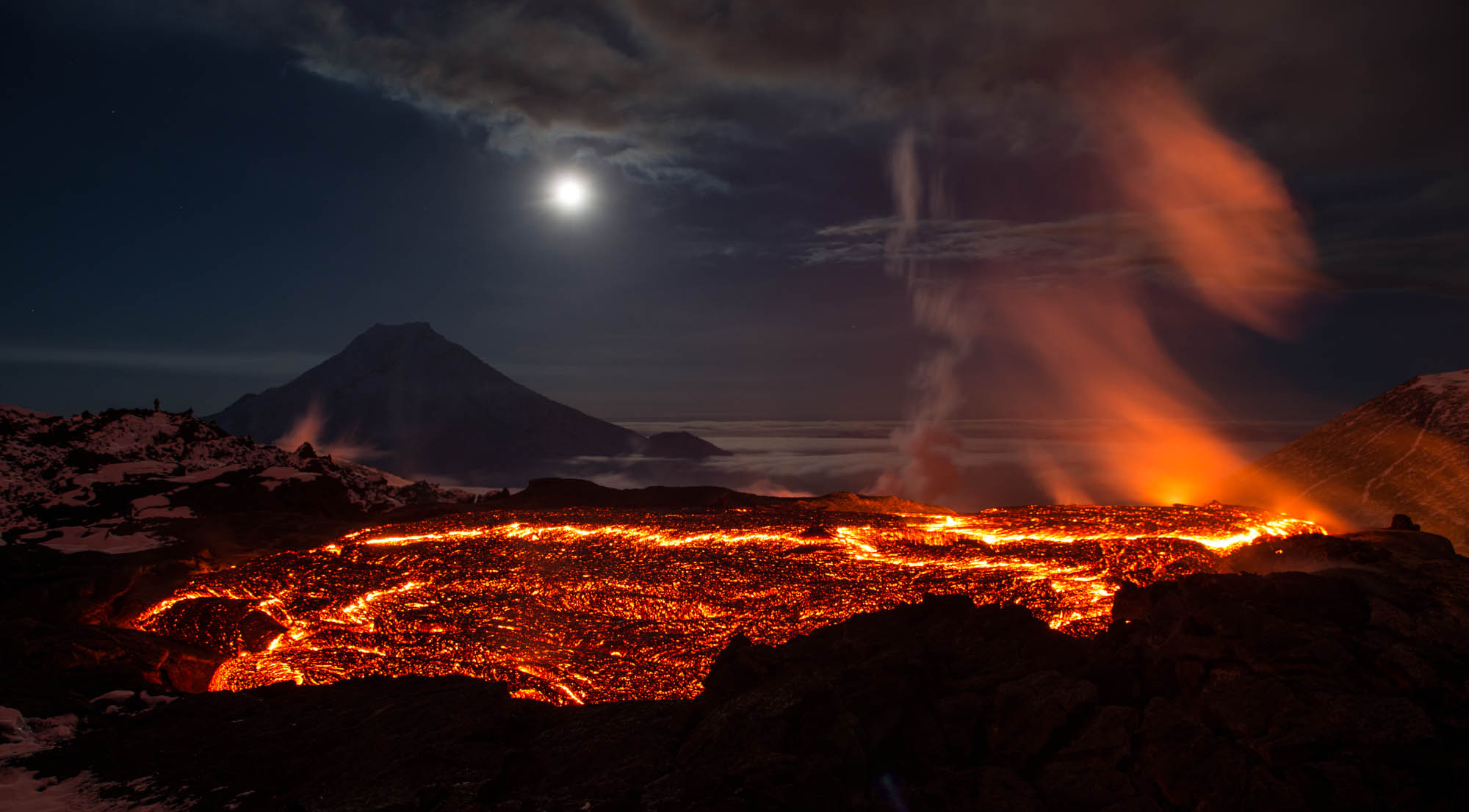 Volcano HD Wallpaper Background Images 2000x1106