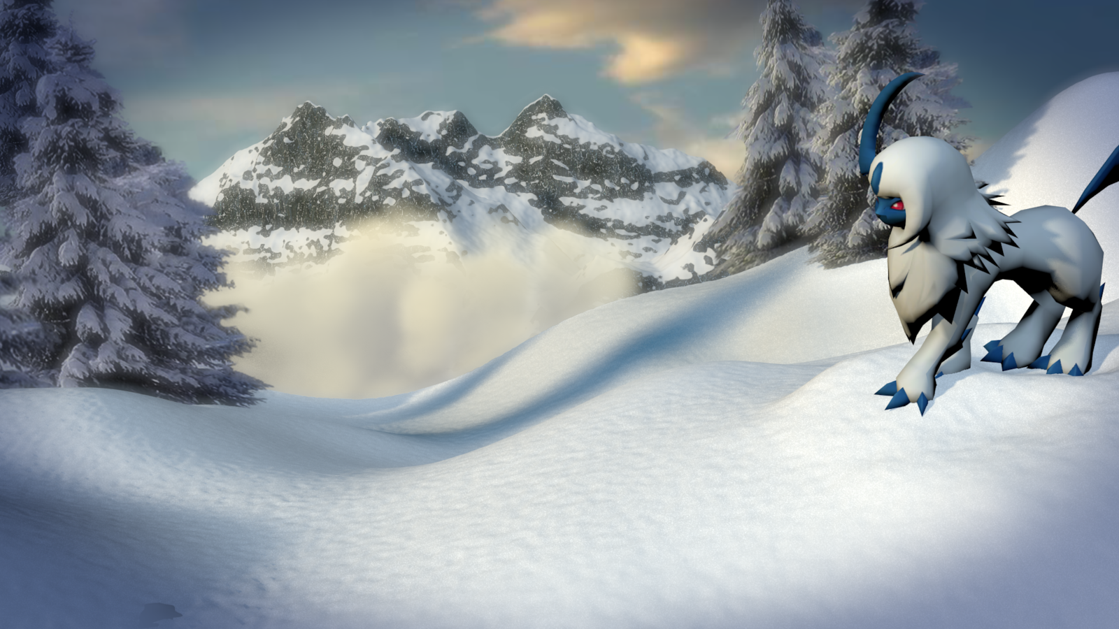Mountaintop Absol [3D M0DEL] by TheModerator 1600x900