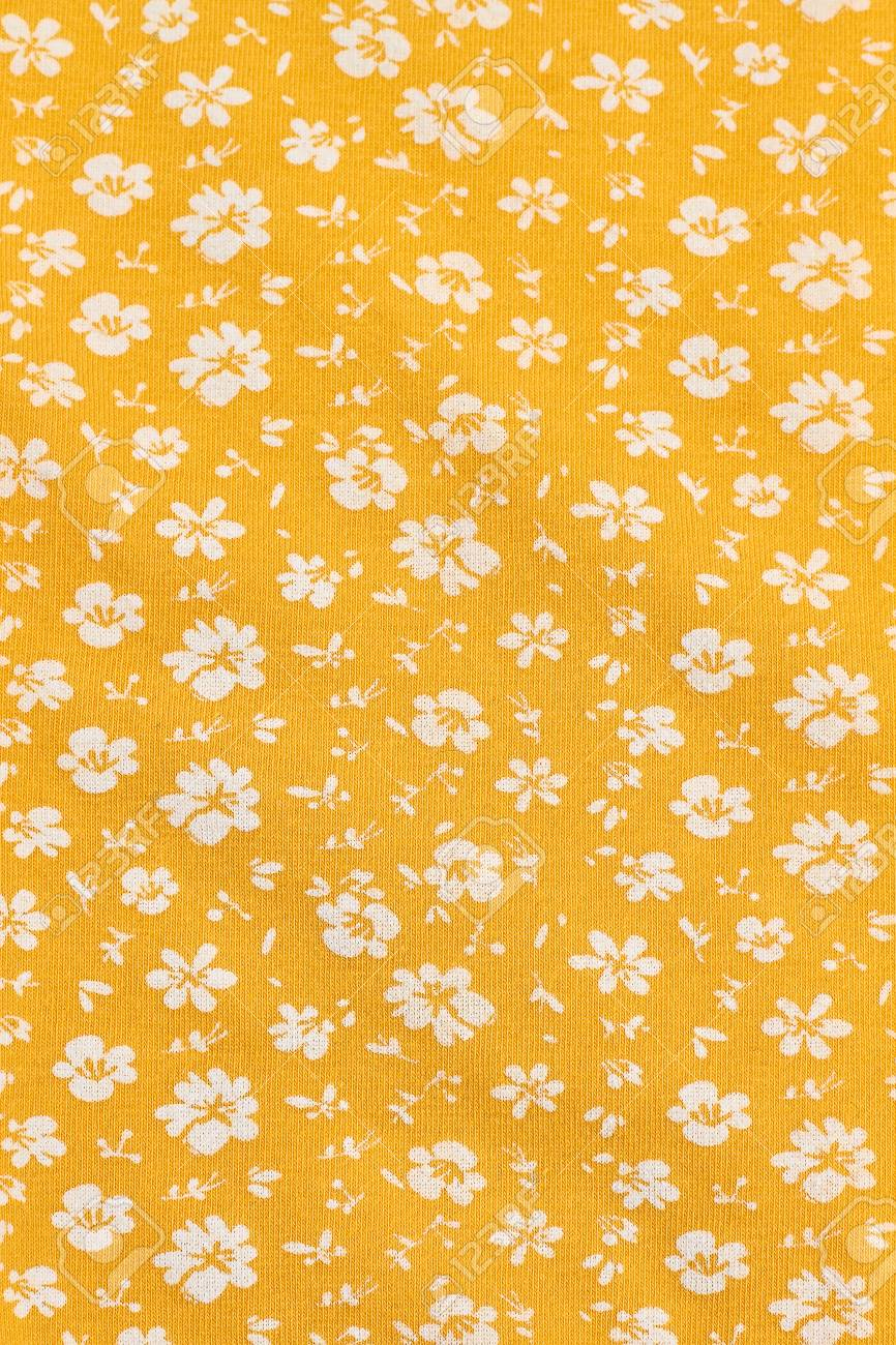 Textile Wallpaper In Floral Print Yellow Fabric Background In 866x1300
