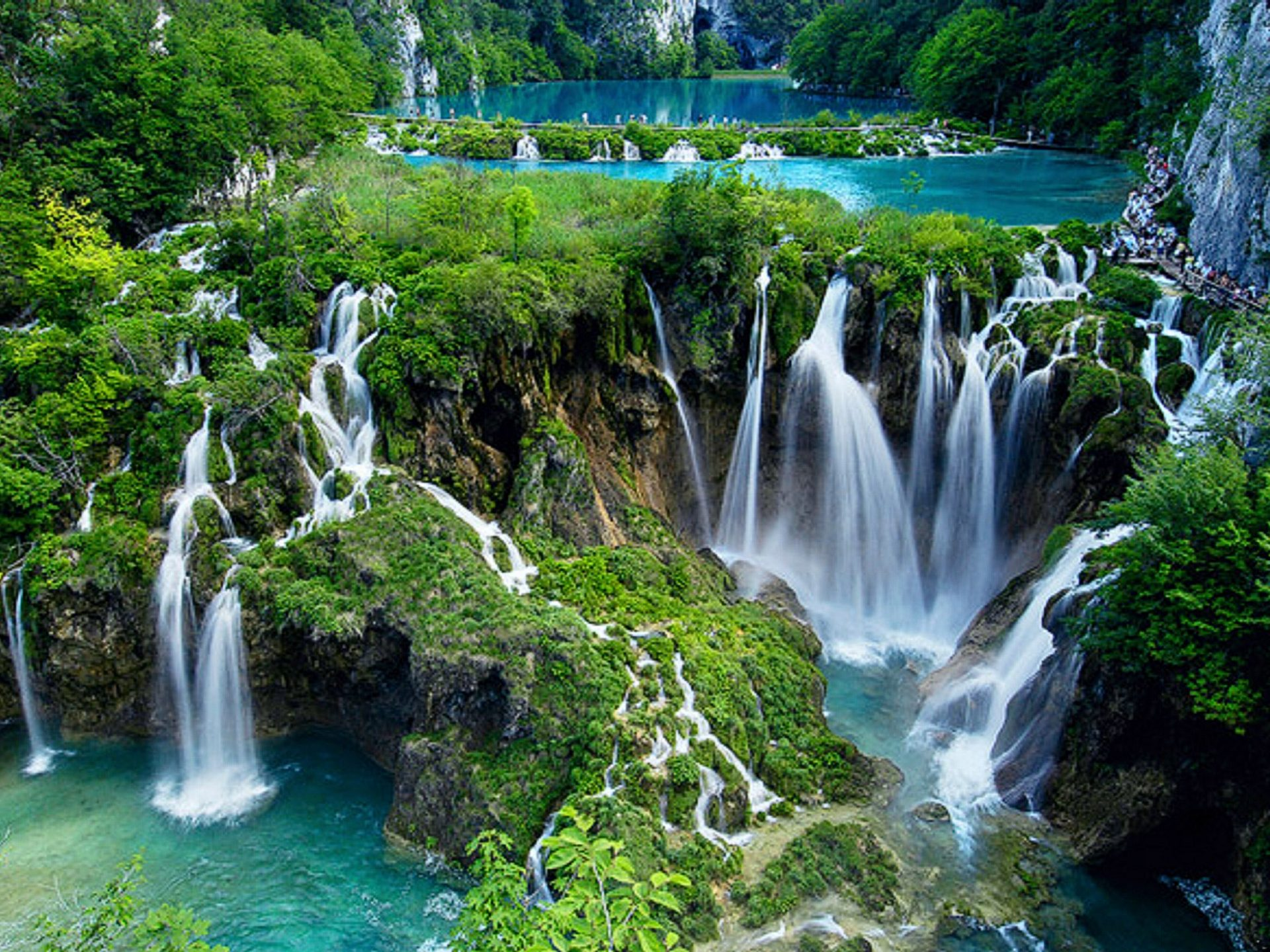 Plitvice Lakes National Park Croatia Cascading waterfall Wallpaper 1920x1440