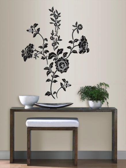 and grey brocade wall decal from the HGTV HOME by Sherwin Williams 438x584