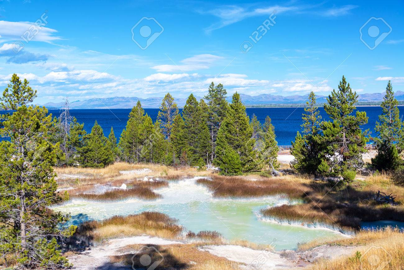 Landscape View Of The West Thumb Geyser Basin With Yellowstone 1300x867