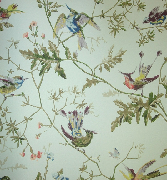 Birds on Branches Aqua Wallpaper Hummingbird Wallcovering by Cole 534x576