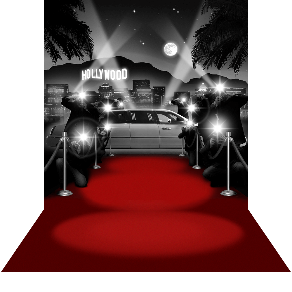 Hollywood BW with Red Carpet Floor Photo Backdrops and Backgrounds 1000x1000
