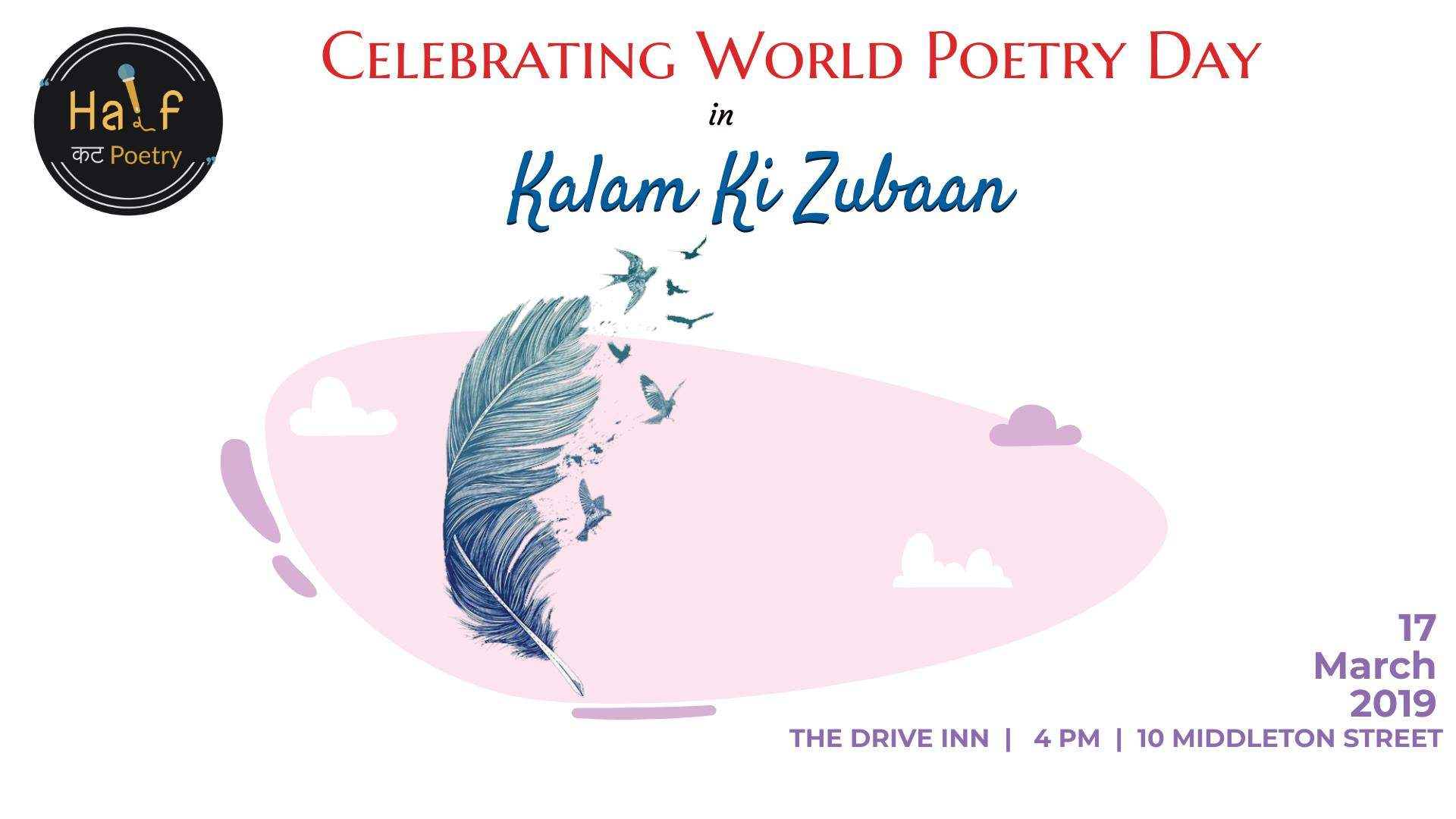 Celebrate World Poetry Day with Half Cut Poetry at The Drive Inn 1920x1080