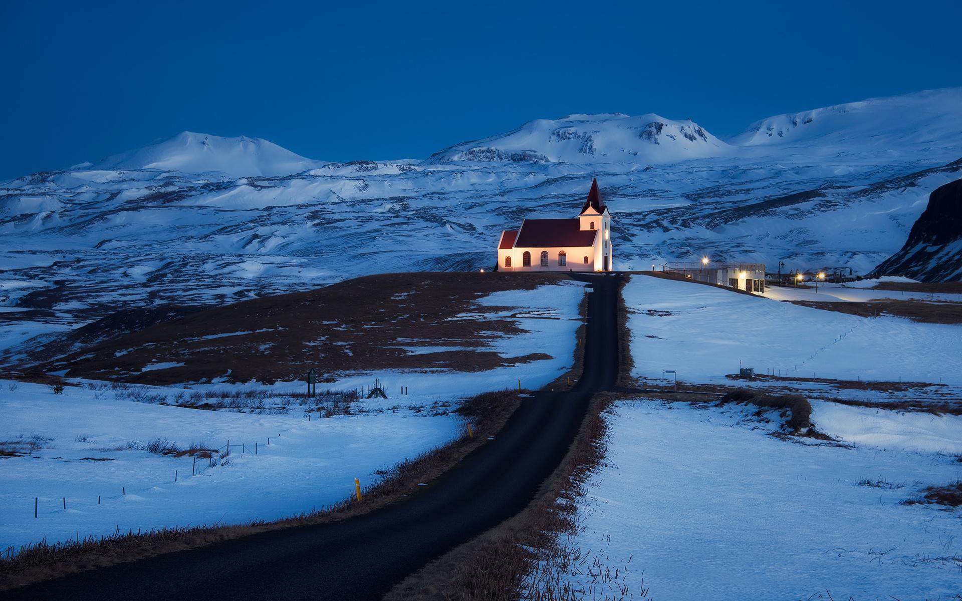 Iceland church light lighting road hills mountains snow blue sky night 1920x1200
