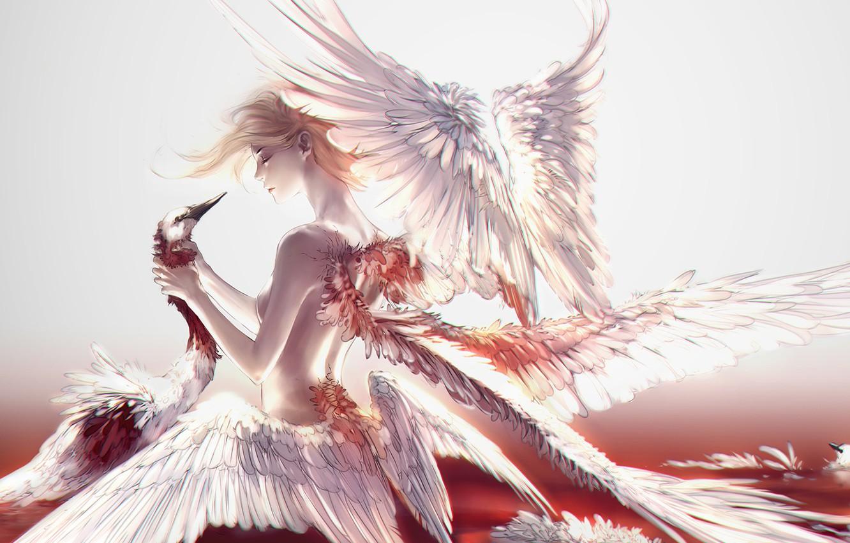 Wallpaper girl blood fantasy swan wings feathers birds 1332x850