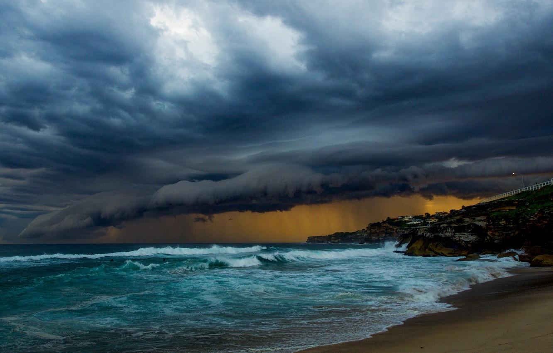 Wallpaper waves storm beach cloudy raining troubled sea 1332x850