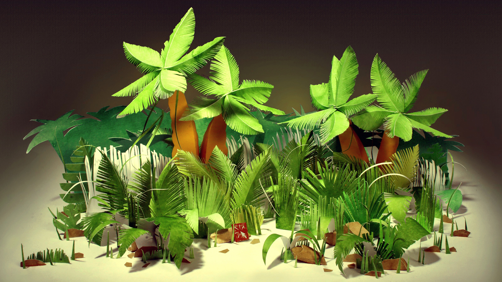 tropical palm trees bushes leaves paper cardboard wallpaper background 1920x1080