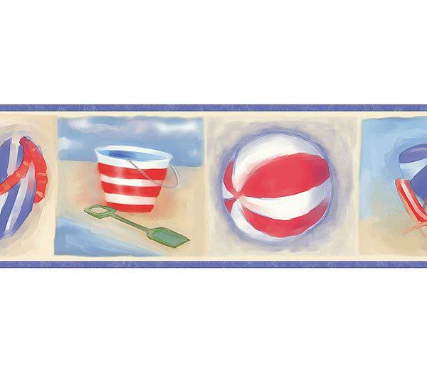 Blue Morrow Beach Wallpaper Border   Baby Nursery Kids 600x525