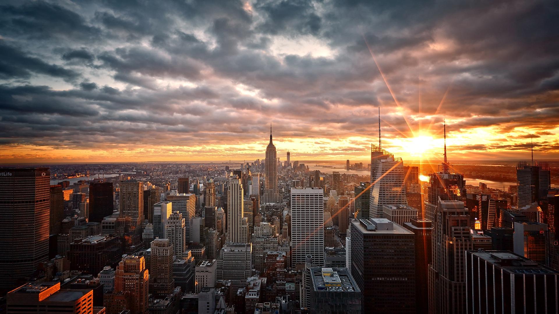 Manhattan New York Sunrise City Skys Wallpaper 17368 1920x1080