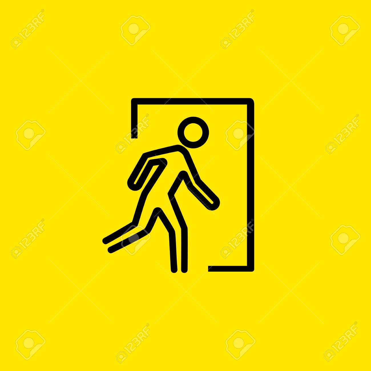 Emergency Exit Icon Illustration On Yellow Background Royalty 1300x1300