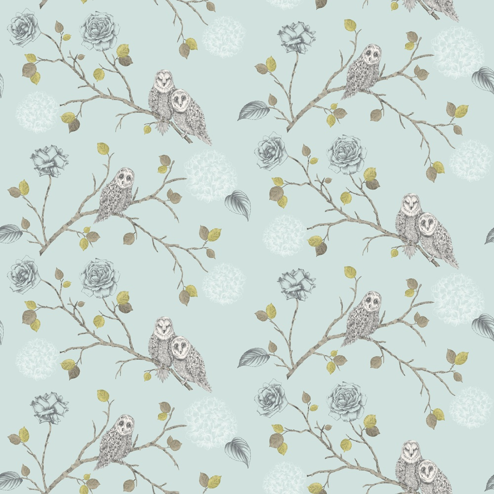 Owl Floral Pattern Bird Flower Leaf Glitter Motif Wallpaper 665001 1000x1000