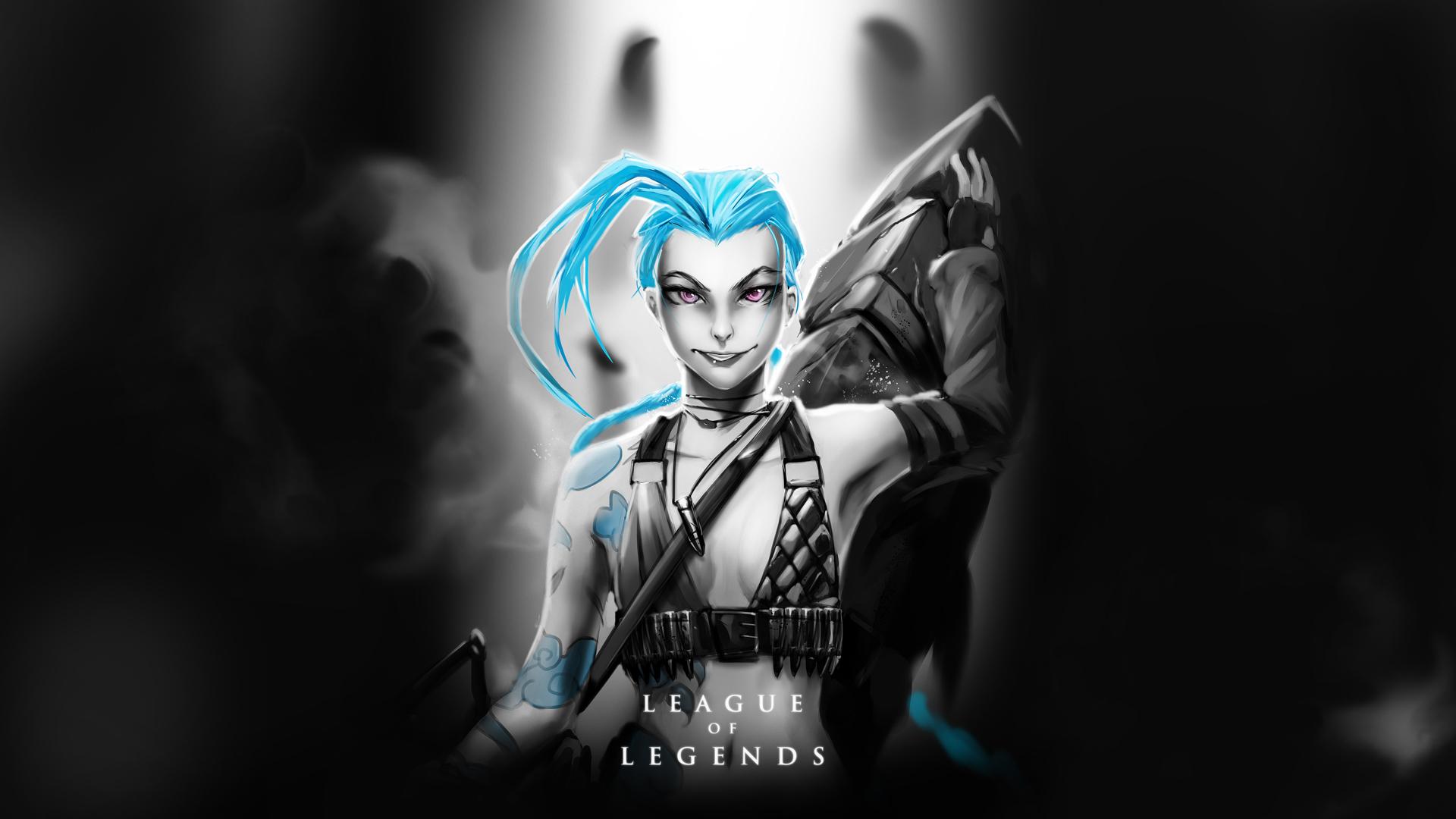 jinx girl art champion league of legends lol 1920x1080
