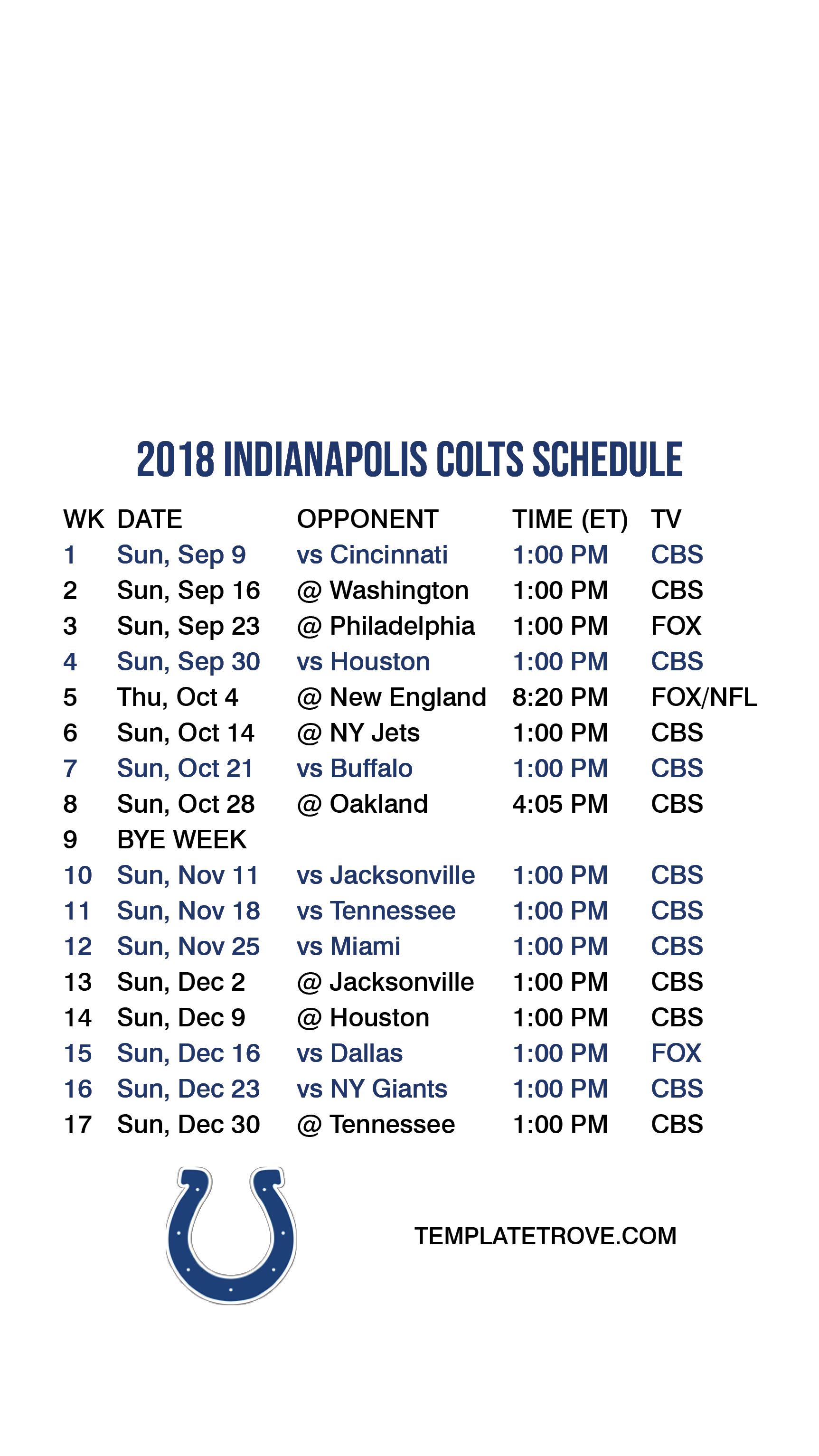 2018 2019 Indianapolis Colts Lock Screen Schedule for iPhone 6 7 8 1725x3067